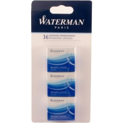 Cartouches standard courtes bleues Waterman 36U