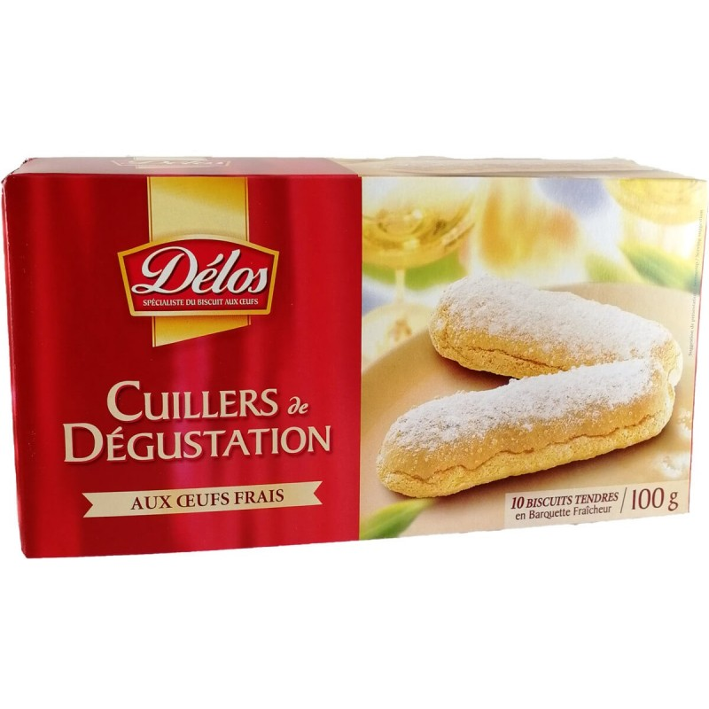 Delos Fresh Egg Tasting Spoons Biscuits x10 100g