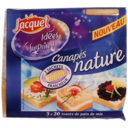 Canapes Nature sliced bread x60 Jac Mie Jacquet 255g
