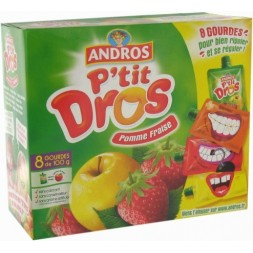 Compote Pomme-fraise Andros - 6 Gourdes de 100g 600g