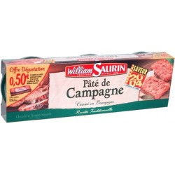 Pâté de campagne William Saurin 3x78g  234g
