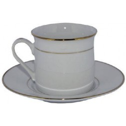 Tasses Filet Or porcelaines avec soucoupes 6U
