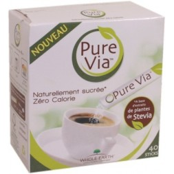Pure Via à base d'extrait de Stevia - 40 sticks 60g