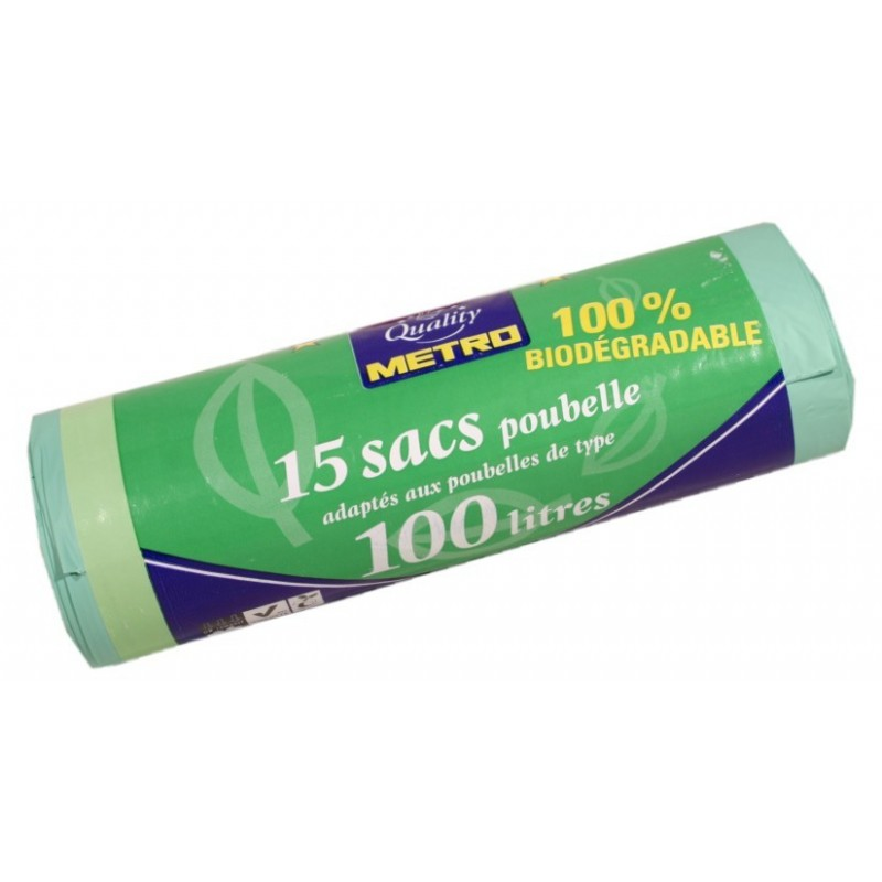 Sacs poubelle 100L 100% biodégradable Metro Quality 15U