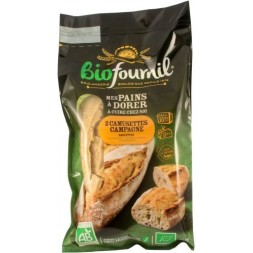 Baguettes for home baking Camusettes Biofournil Bio Organic Bread 400g