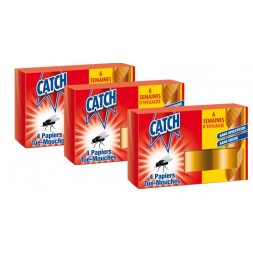 Catch Papier Tue-Mouches 4 rouleaux - Lot de 3 paquets