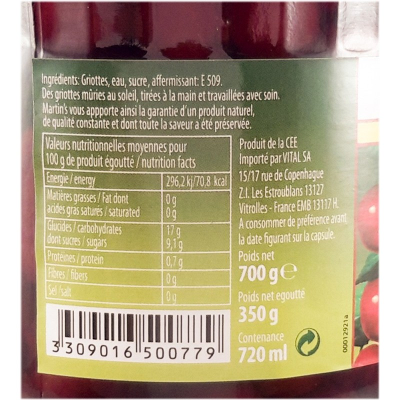 Morello cherries peeled in Martins syrup - 700g jar