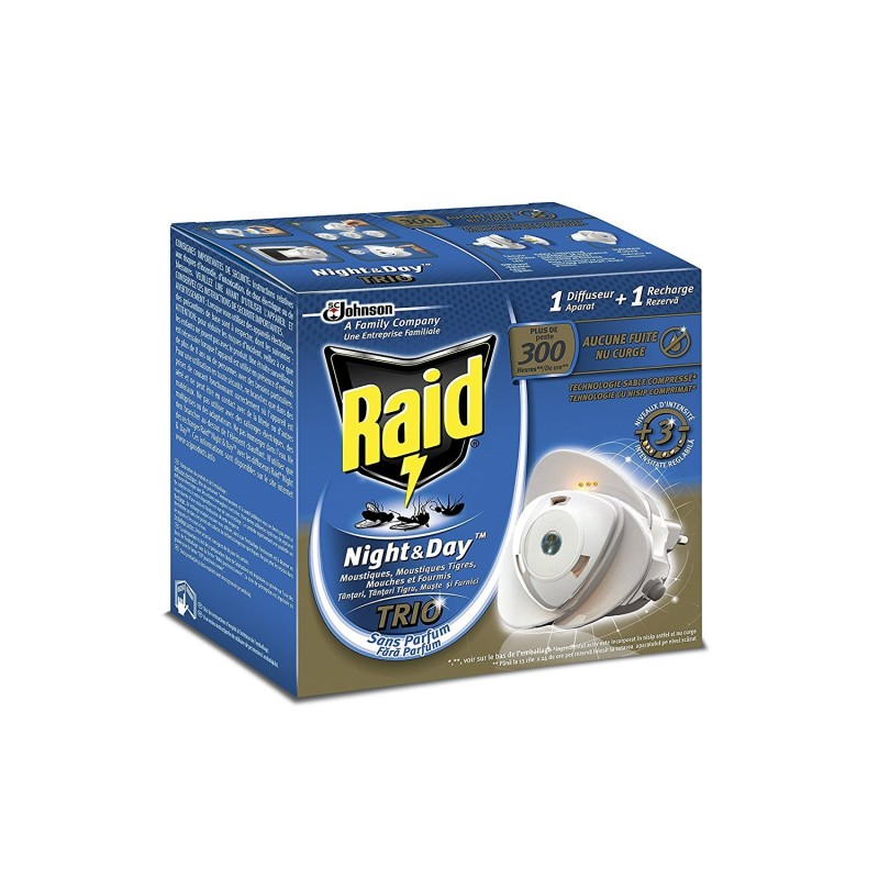 Raid Diffuseur Insecticide Night & Day Trio plus de 300 heures