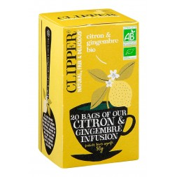 Clipper Infusion Citron Gingembre Bio - 20 sachets