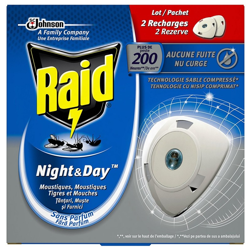 Raid  Lot 2 Recharges Insecticide Night & Day plus de 200 h