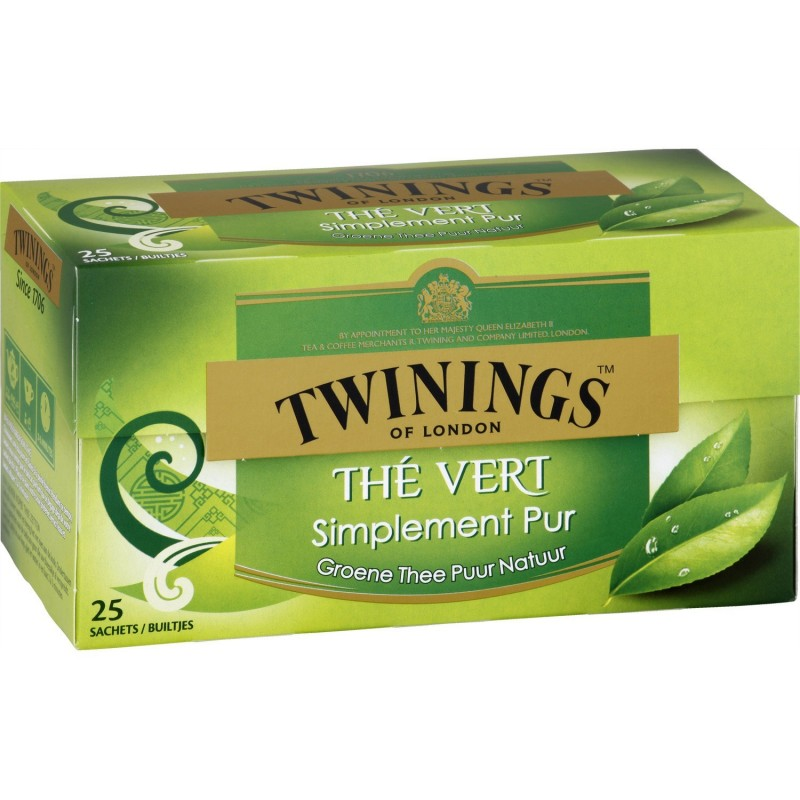 Twinings Thé Vert Nature simplement pur - 25 sachets  37,5g