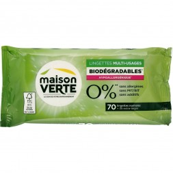 Lingettes Multi-Usages Biodégradables Maison Verte 70 U